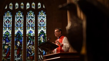 Anglican Archbishop of Sydney Glenn Davies delivers his Sermon during the Easter Sunday service at St Andrew's Cathedral.