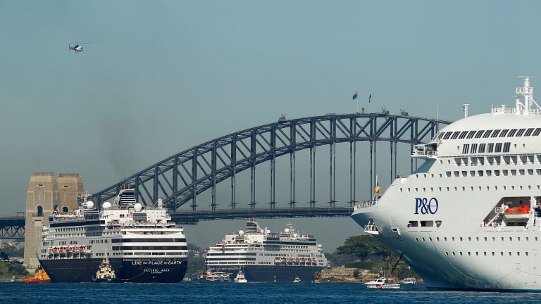 P&O's Pacific Aria, Pacific Eden and Pacific Jewel inside Sydney Harbour on November 25. It was the first time P&O Cruises brought their entire fleet of five cruise ships together.