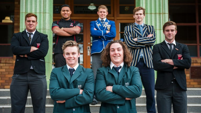 The ACT's Australian schoolboy rugby representatives include brothers Ryan, 18, and Lachlan, 16, Lonergan (front), with (back from left) Tom Ross 18, Francis-Soakai Tai, 17, Luke Gersekowski, 18, Lachlan Osborne, 17, and Mackenzie Hansen, 18.