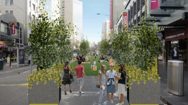 Artist's impression of pop-up park designed for Elizabeth Street between Flinders Lane and Flinders Street.