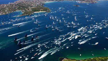 The start of the Sydney to Hobart yacht ocean race in 2014 .