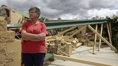 Falling bricks narrowly missed Jan McKergow and her husband in their bedroom on Saturday night when a storm ripped through their Forbes Creek home.