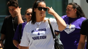 Tiahleigh's mother Cindy Palmer at a previous bail application by Trent Thorburn.