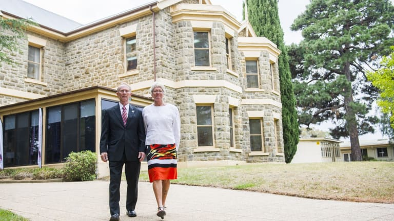 Hugh and Janny Poate outside the relocated Robert Poate Reintegration and Recovery Centre and national Soldier On headquarters at Gungahlin Homestead.