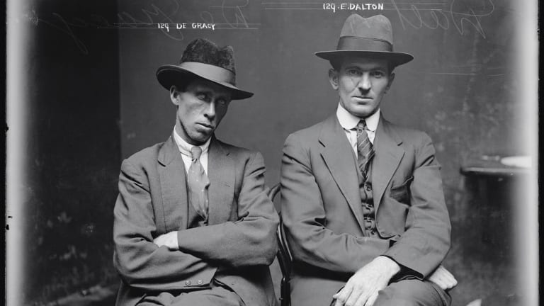 They look mean: Augustine 'Gus' Gracey and Edgar 'Eddie' Dalton (alias Adamson Mitchell), circa 1920, but they were only petty criminals.