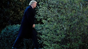 Enveloped by darkness: Donald Trump walks to the Oval Office.