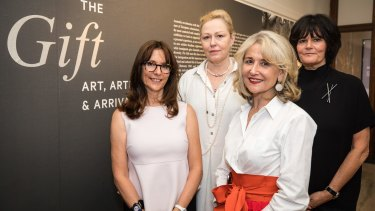 From left to right: Artists Hedy Ritterman, Linde Ivimy, Lousje Skala and Linda Wachtel, whose work is featured in the migration exhibition The Gift at the Museum of Australian Democracy at Old Parliament House in Canberra.