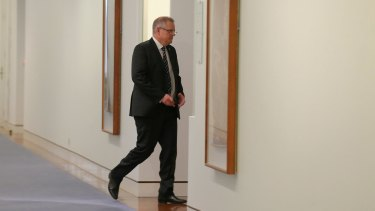 Scott Morrison enters Tony Abbott's office on the night of the leadership spill.