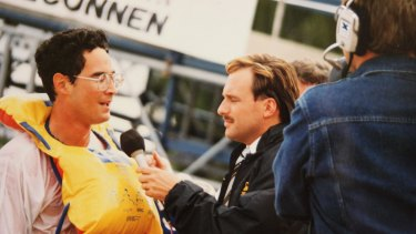 George Reekie is interviewed by Greg Robson at the Birdman Rally.