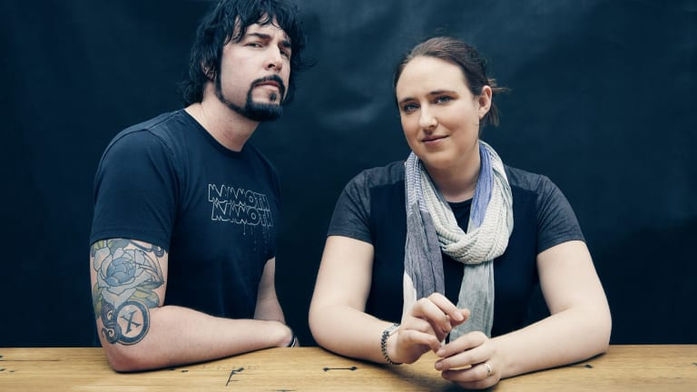 Jay Kristoff and Amie Kaufman, who co-wrote <i>Illuminae</i> after a dream by Kaufman.