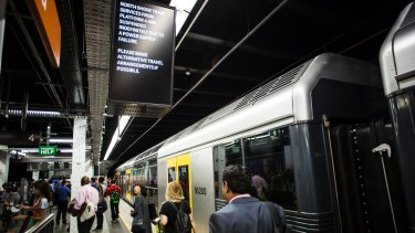 """An announcement at Wynyard Station said services were suspended """"indefinitely""""."""