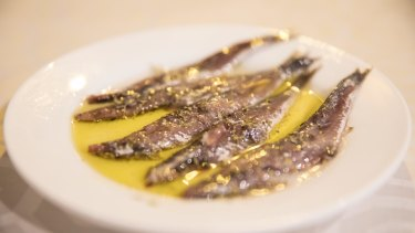 Anchovies in olive oil.