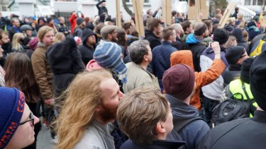 People protest in Reykjavik on Tuesday amid outrage over revelations Prime Minister Sigmundur Gunnlaugsson used a shell company to conceal a conflict of interest.