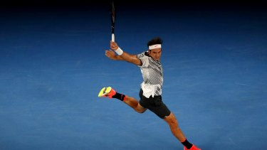 Roger Federer during the men's finals of the Australian Open in January 2017.