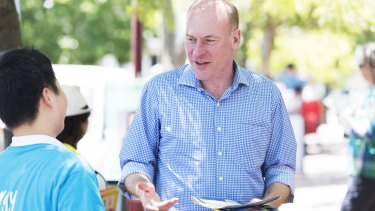 Liberal Candidate Trent Zimmerman at Saint Aloysius College polling booth on Saturday.