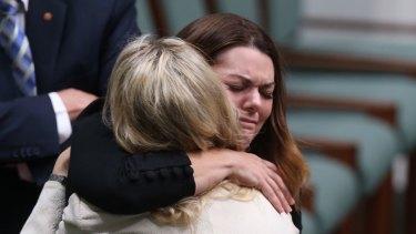 A tearful Sarah Hanson-Young hugs Melissa Clarke.