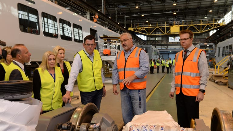 Premier Daniel Andrews at the Ballarat Alstom train factory in 2014.
