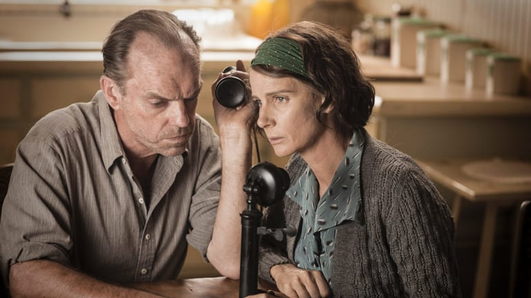 Hugo Weaving and Rachel Griffiths, as Desmond's conservative parents, are among  many Australian supporting actors.