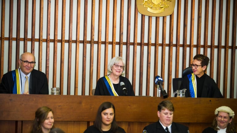 A ceremonial sitting to mark the retirement of Justice Hilary Penfold, centre, as ACT Supreme Court Judge.