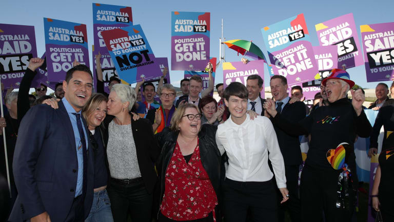 Supporters including Professor Kerryn Phelps, Christine Forster, Alex Greenwich, Magda Szubanski  and Anna Brown during a rally on the front lawn of Parliament House ahead of the vote on the Marriage Amendment Bill.
