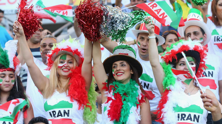 Iran fans show their support during the 2015 Asian Cup match between IR Iran and Bahrain at AAMI Park in Melbourne.