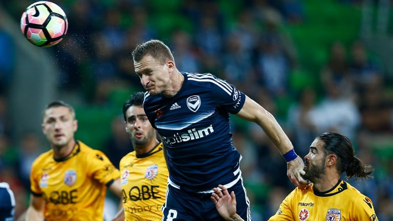 Heading for Victory: Besart Berisha scores for Melbourne.