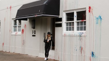 Roxy Jacenko leaves the Paddington offices of Sweaty Betty after they were vandalised overnight.