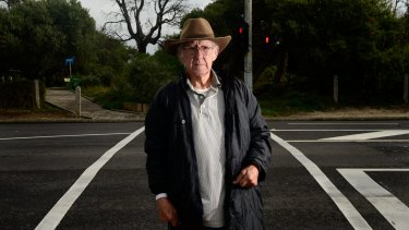 Anton Geitenbeek at a Nepean Highway crossing in Seaford. He suffered two heart attacks after he was hit by a car at the crossing.