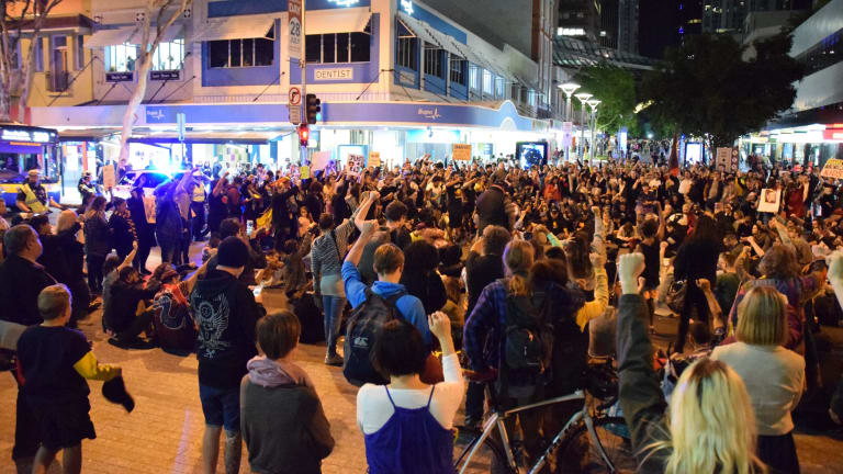 Hundreds marched through Brisbane's CBD during the protest.
