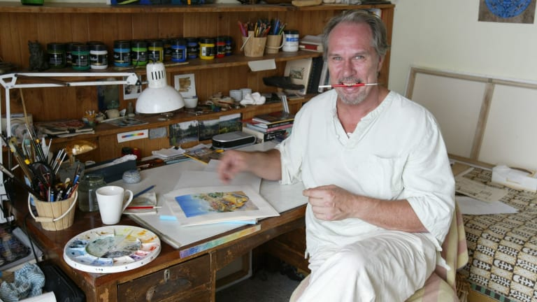 Magical imagination ... Kim Gamble at work in his Manly studio in 2006.