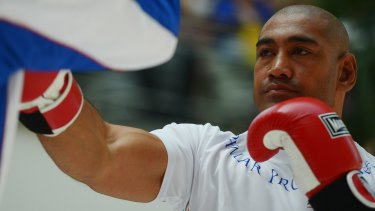 Heavy hitter: Alex Leapai trains in Germany for the fight against Klitschko.