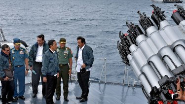 Indonesian President Joko Widodo, third right, on a visit to the Natuna islands earlier this month to affirm the country's commitment to protecting its sovereignty in the area at the edge of the South China Sea.