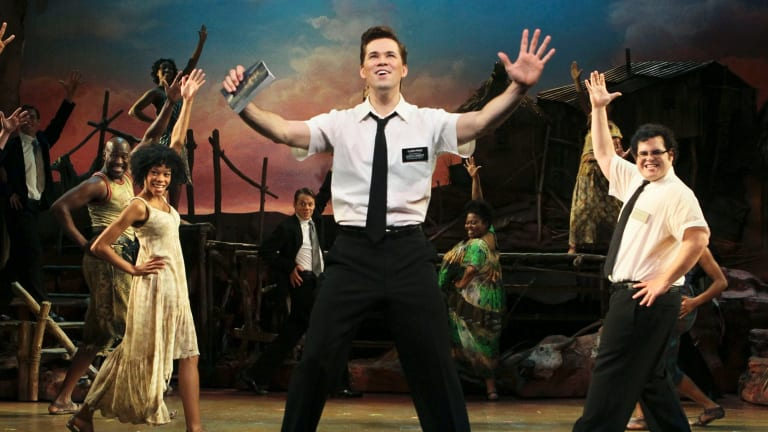 Rema Webb, Andrew Rannells and Josh Gad in the original Broadway production of The Book of Mormon.