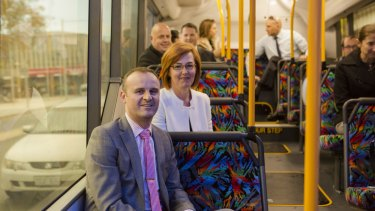 """ACT Chief Minister Andrew Barr and Transport Minister  Meegan Fitzharris on the new """"city loop"""" bus service."""