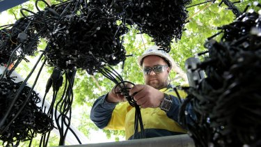 Electrician Joshua Austin from Shepherd Electrical helps install lights for the world record attempt at Petrie Plaza.
