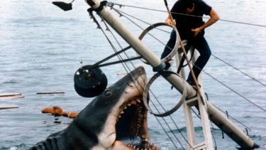 A scene from the finale of the movie <i>Jaws</i>, whose 40th anniversary inspired the makers of <em>Shark</em>.