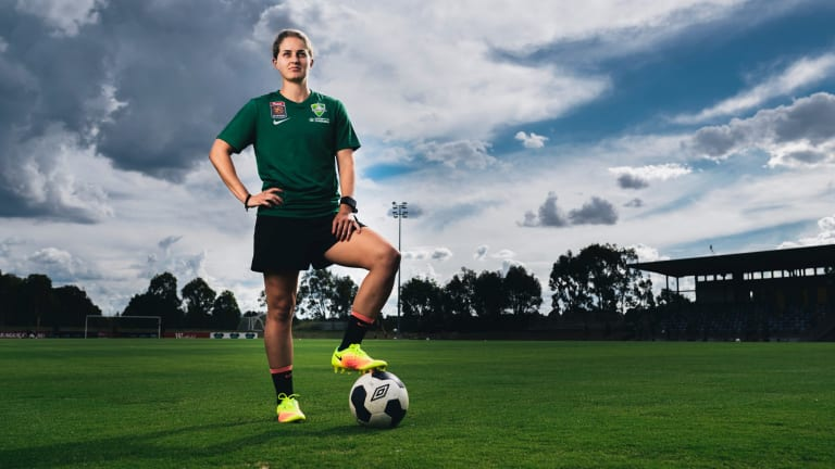 Canberra United defender Ellie Brush's double life is underway.