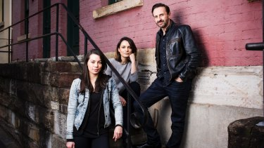 The cast of Bell Shakespeare's Merchant of Venice (from left): Catherine Davies (Nerissa), Jessica Tovey (Portia) and Mitchell Butel (Shylock).