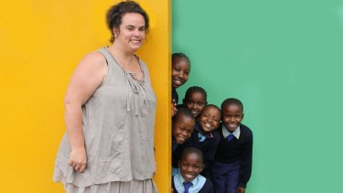Gemma Sisia, founder of the School of St Jude, with students in Arusha, Tanzania.