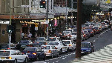 Traffic on King St, Newtown, which Roads Minister Duncan Gay said would be transformed into a 'Nirvana' after the WestConnex was built.