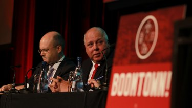 Infrastructure Australia chief executive Philip Davies and Victorian Treasurer Tim Pallas.
