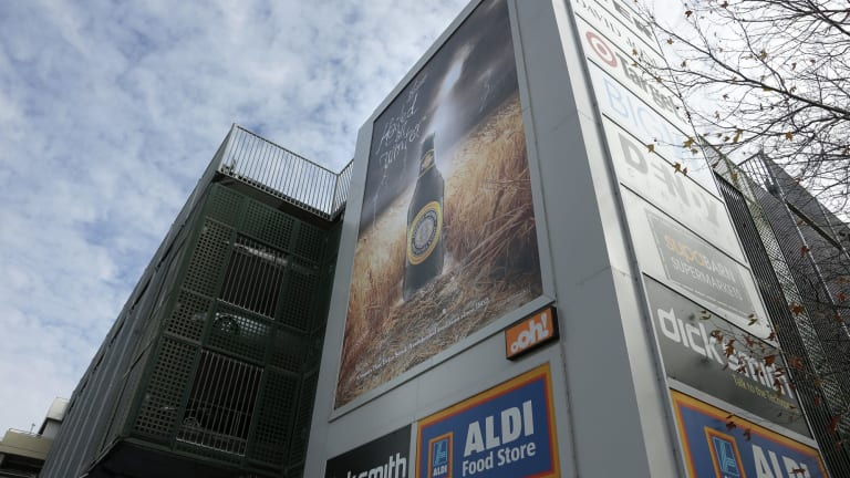 Advertising on the outside of the Canberra Centre in 2014.