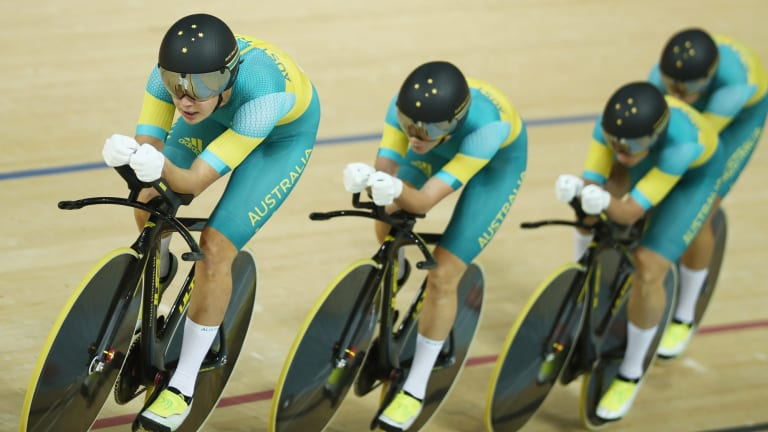 Team Australia competes in the Women's Team Pursuit on Day 8 of the Rio 2016 Olympic Games when the USA set a new world record.