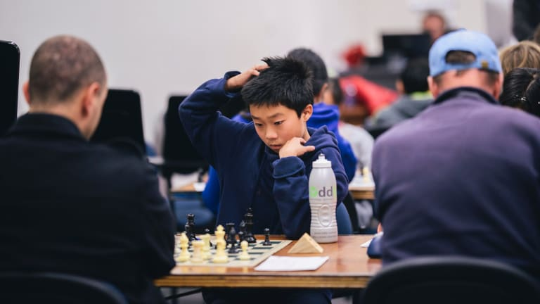Ruofan Xu during the ANU Open Chess Tornament on Sunday.