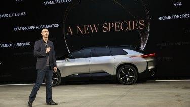 Faraday Future's Nick Sampson, unveils the FF 91.