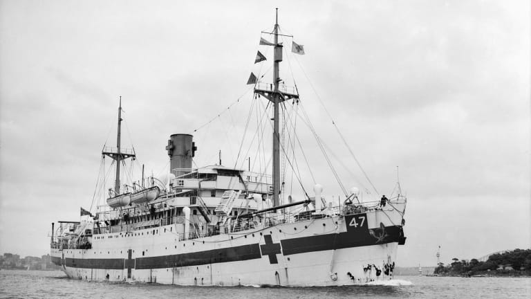 Australian Hospital Ship Centaur, with red crosses and green lines on hull in Sydney, 1943, Photo: Australian War Memorial