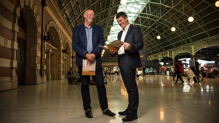 NSW's 23rd Government Architect Peter Poulet (on right) and Dr Charles Pickett, curator of the exhibition 'Imagine a City: 200 Years of Public Architecture in NSW'  at one of their favourite examples of public architecture, Central Station.