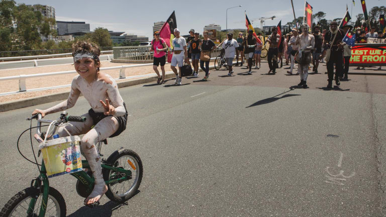 The 'invasion day' protest in Canberra.