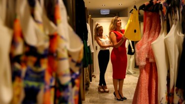 Size matters: Mez Gallifuoco tries a size 10 Dawn Midi dress at Seduce  in  Sydney's Eastgardens shopping centre.