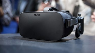 """The Oculus VR Rift headset is displayed for a photograph during the """"Step Into The Rift"""" event."""